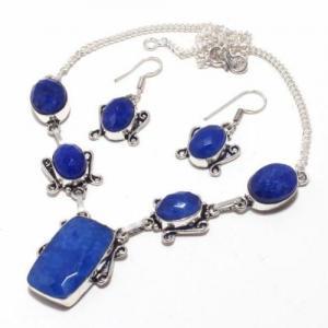 Sa 9392d collier boucles oreilles parure saphir bleu 38gr achat vente bijou ethnique argent 925