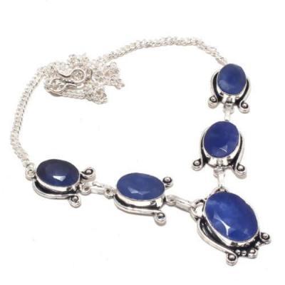 Sa 9394a collier sautoir parure saphir bleu 28gr achat vente bijou ethnique argent 926