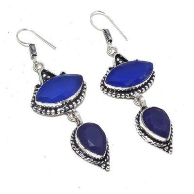 Sa 9398a boucles oreilles parure saphir bleu 16gr achat vente bijou ethnique argent 925