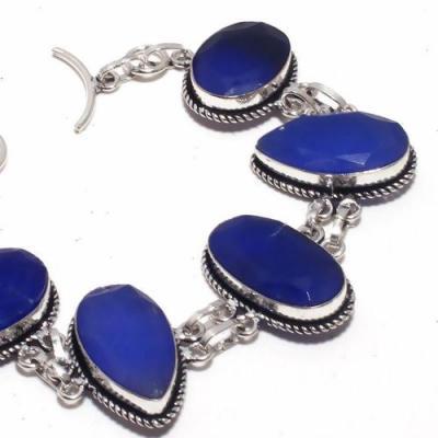 Sa 9402b bracelet 5 saphir ovales bleu 26gr achat vente bijou ethnique argent 925