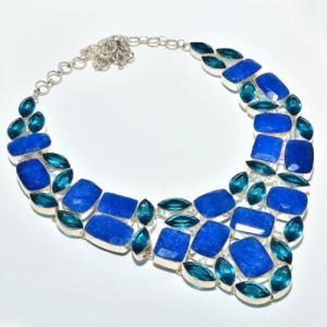 Sa 9407a collier parure saphir topaze bleu 175gr achat vente bijou ethnique argent 925