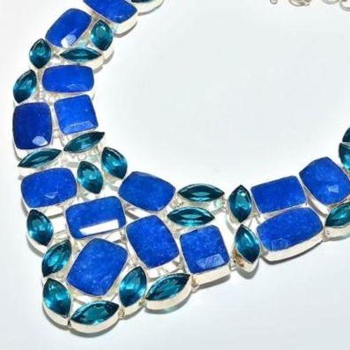 Sa 9407b collier parure saphir topaze bleu 175gr achat vente bijou ethnique argent 925