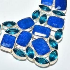 Sa 9407c collier parure saphir topaze bleu 175gr achat vente bijou ethnique argent 925