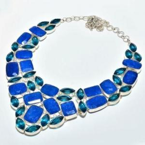 Sa 9407d collier parure saphir topaze bleu 175gr achat vente bijou ethnique argent 925