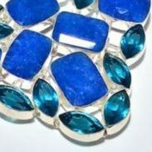 Sa 9407e collier parure saphir topaze bleu 175gr achat vente bijou ethnique argent 925
