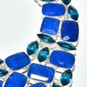 Sa 9407f collier parure saphir topaze bleu 175gr achat vente bijou ethnique argent 925