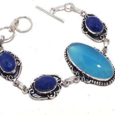 Sa 9432b bracelet saphir calcedoine 18x35mm 25gr achat vente bijou ethnique argent 925