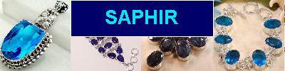 Bijoux en argent 925 avec pierre SAPHIR - achat et  vente - bagues, colliers, bracelets, parures, boucles oreilles, pendentifs,