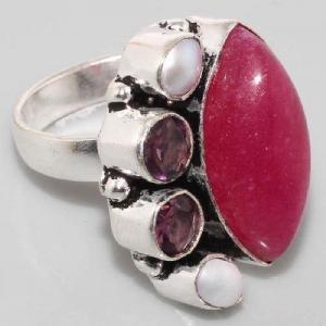 Sl 005b bague rubis perle argent 925