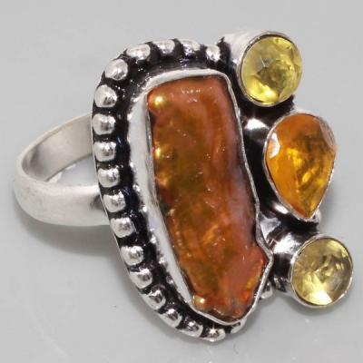 Sl 048a bague citrine nacre argent 925 bijoux achat vente 1