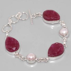 Sl 049a bracelet rubis perle argent 925 achat vente