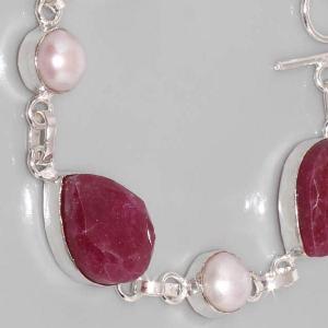 Sl 049b bracelet rubis perle argent 925 achat vente