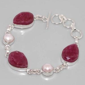 Sl 049c bracelet rubis perle argent 925 achat vente