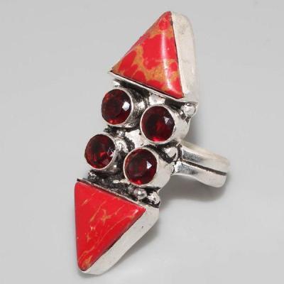 TBT-428 - Jolie petite BAGUE T54 cabochon GRENAT et TURQUOISE Rose argent 925 - 34 carats 6,8 gr