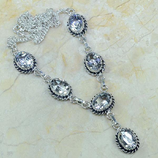 Tpz 003a collier parure sautoir topaze blanche bijou argent 925 vente achat 1