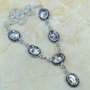 Tpz 003a collier parure sautoir topaze blanche bijou argent 925 vente achat