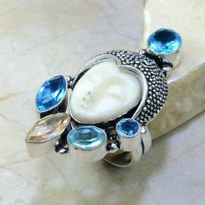 TPZ-013 - BAGUE T 55 TOPAZE Bleue BOUDDHA jade - monture argent 925 - 86 carats 17,8 gr