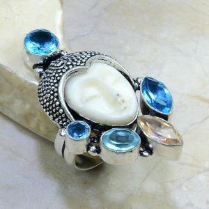 Tpz 013b bague t55 topaze bleue bouddha jade bijoux argent 925 vente achat