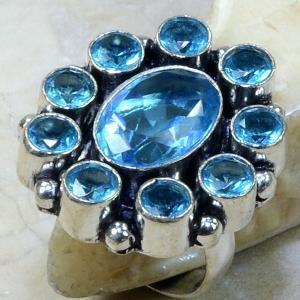 Tpz 014a bague t57 topaze bleue bijoux argent 925 vente achat