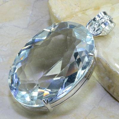 TPZ-017 - PENDENTIF avec grosse TOPAZE Blanche Gemme cristal - monture en argent 925 - 245 carats 49 gr