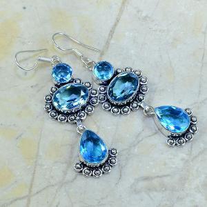 Tpz 018a boucles pendants oreilles topaze bleue bijou argent 925 vente achat