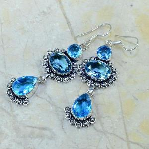 Tpz 018b boucles pendants oreilles topaze bleue bijou argent 925 vente achat
