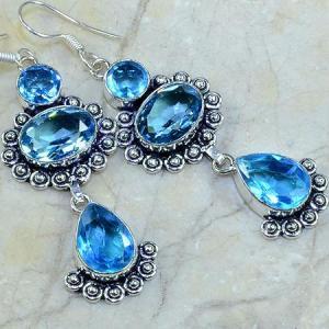 Tpz 018c boucles pendants oreilles topaze bleue bijou argent 925 vente achat
