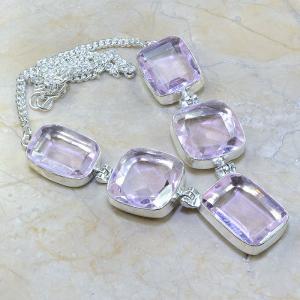 Tpz 019a collier parure sautoir topaze mauve rose bijou argent 925 vente achat