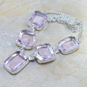 Tpz 019d collier parure sautoir topaze mauve rose bijou argent 925 vente achat