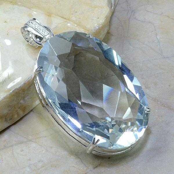 Tpz 021a pendentif pierre topaze blanche gemme taille bijou argent 925 vente achat