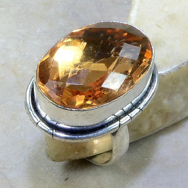 Tpz 022a bague t60 topaze peche champagne bijoux argent 925 vente achat