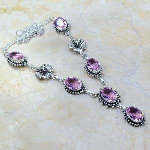 Tpz 028a collier parure sautoir topaze mauve rose bijou argent 925 vente achat