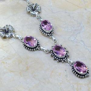 Tpz 028c collier parure sautoir topaze mauve rose bijou argent 925 vente achat