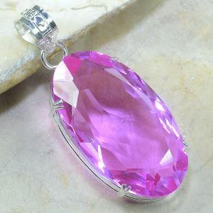 Tpz 032a pendentif pierre topaze rose gemme taille bijou argent 925 vente achat