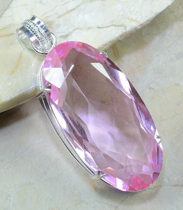 Tpz 035a pendentif pierre topaze rose gemme taille bijou argent 925 vente achat