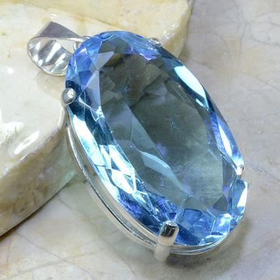 TPZ-036 - PENDENTIF 70 mm avec grosse TOPAZE Bleue ciel Gemme - monture en argent 925 - 220 carats 45 gr