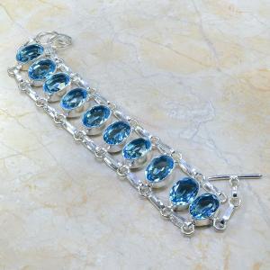 Tpz 037a bracelet topaze bleue bijou argent 925 vente achat