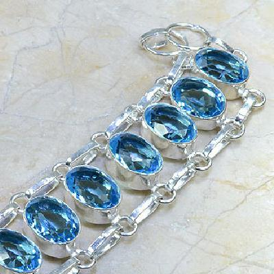 Tpz 037c bracelet topaze bleue bijou argent 925 vente achat