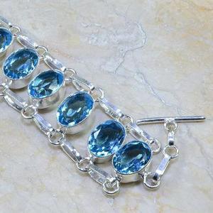 Tpz 037d bracelet topaze bleue bijou argent 925 vente achat