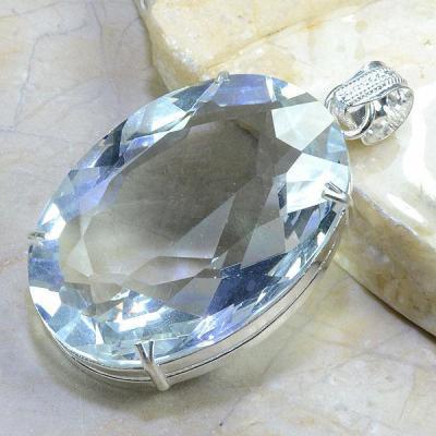 TPZ-038 - PENDENTIF avec grosse TOPAZE Blanche Gemme cristal - monture en argent 925 - 240 carats 48 gr