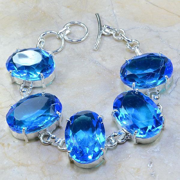 Tpz 040a bracelet topaze bleue bijou argent 925 vente achat