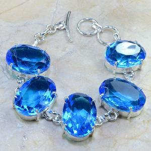 Tpz 040d bracelet topaze bleue bijou argent 925 vente achat