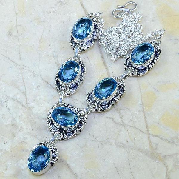TPZ-047 - COLLIER, SAUTOIR, PARURE avec TOPAZE Bleue - monture argent 925  - 150 carats 30 gr