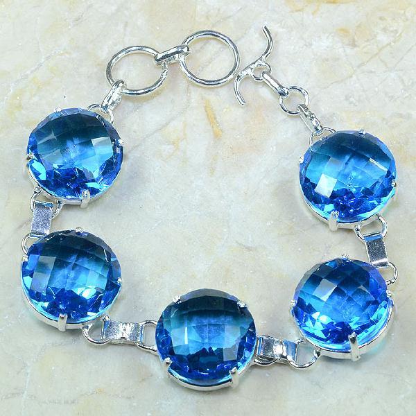 Tpz 049a bracelet topaze bleue iolite bijou argent 925 vente achat