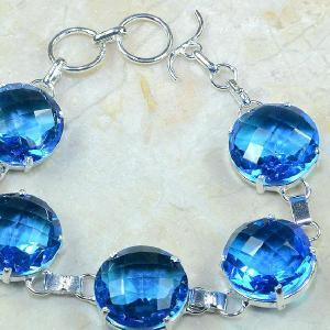 Tpz 049c bracelet topaze bleue iolite bijou argent 925 vente achat