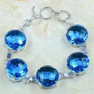 Tpz 049d bracelet topaze bleue iolite bijou argent 925 vente achat