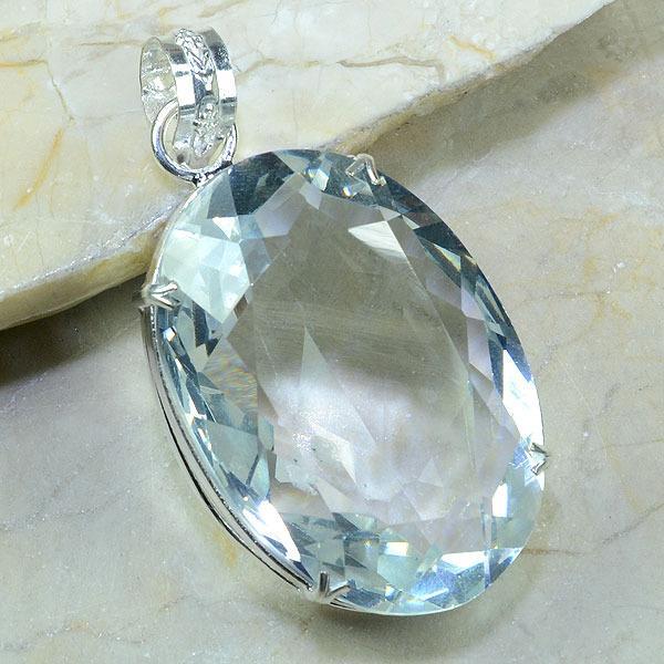 TPZ-052 - PENDENTIF avec grosse TOPAZE Blanche Gemme cristal - monture en argent 925 - 215 carats 43 gr