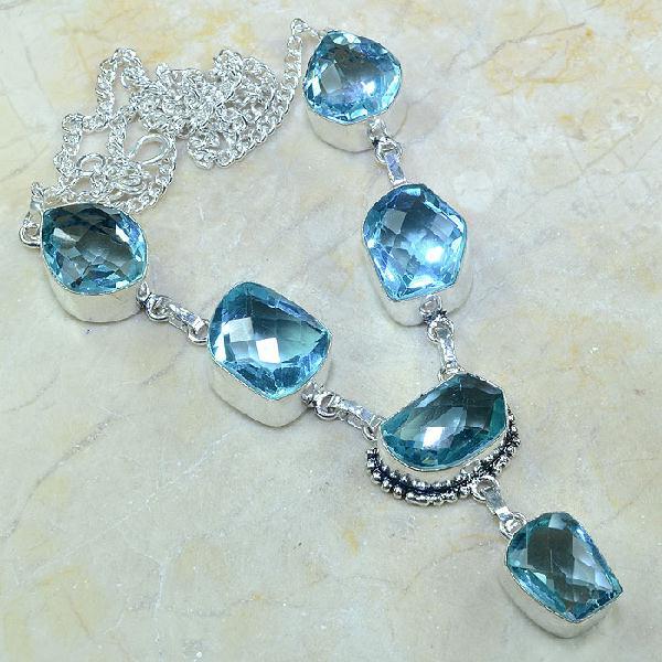 Tpz 055a collier parure sautoir topaze bleue bijou argent 925 vente achat