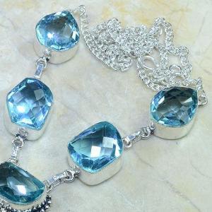 Tpz 055b collier parure sautoir topaze bleue bijou argent 925 vente achat