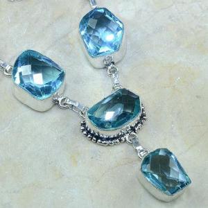 Tpz 055c collier parure sautoir topaze bleue bijou argent 925 vente achat